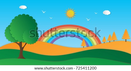 Nature landscape background. Cut paper design. Vector eps10.