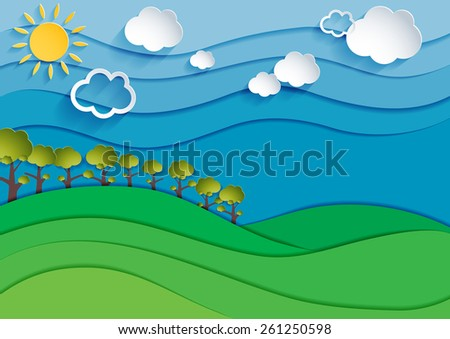 Nature landscape background. Cuted paper design. Vector eps10.