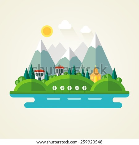 Nature landscape flat icon - stock vector