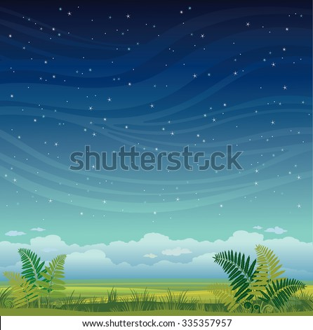 Nature landscape - grass with green fern on a night starry sky. Summer vector illustration.