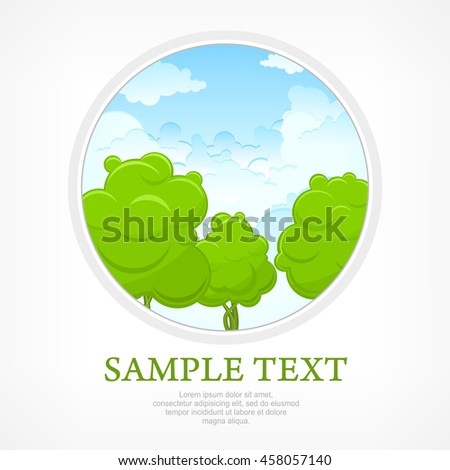 Nature landscape in round lens view vector illustration - stock vector