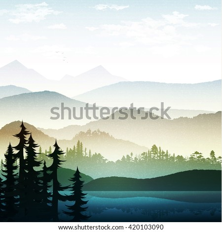 Nature landscape, mountain forest and lake. Vector natures hills, tree in rivers. Summer green background. Poster Travel. National Park