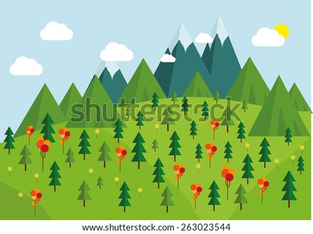 Nature landscape,   trees, mountains and cloudy sky layers flat illustration. - stock vector