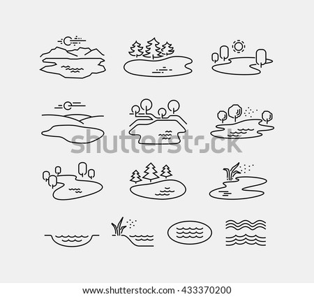 Nature Landscape Vector Icons  - stock vector