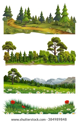 Nature landscape, vector set - stock vector