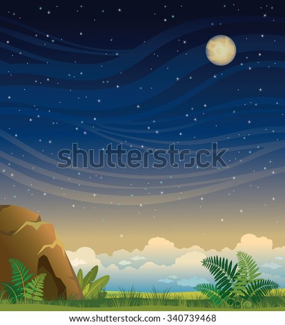 Nature landscape with cave and full moon on a blue starry sky. Summer night vector illustration. - stock vector