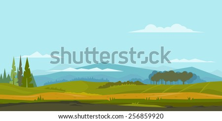 Nature landscape with green hills and mountains, trees and spruces, ground with grass, sample geometric shapes, game background, panorama