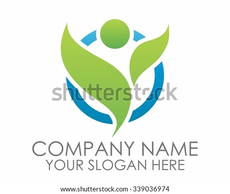 nature leaf people success logo icon vector - stock vector