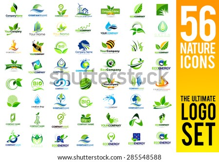 Nature Logo Set. Leaf and trees Logo Design. Creative Nature Inspired Vector Icons collection. - stock vector