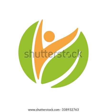 nature logo vector. person and leaf symbol.
