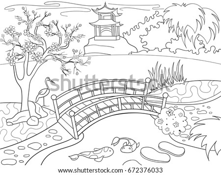 Nature Of Japan Coloring Book For Children Cartoon Japanese Garden Vector Illustration Zentangle Style