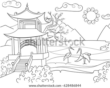 Nature Of Japan Coloring Book For Children Cartoon Vector Illustration Zentangle Style Black And