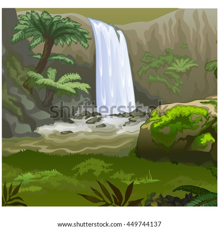Nature of the rainforest. Vector illustration.