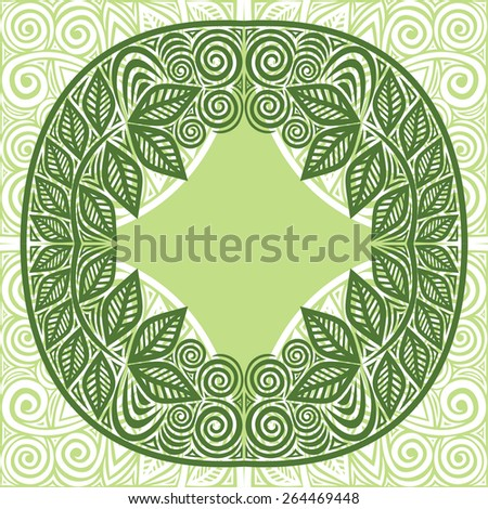 Nature pattern green frame leaves vector illustration - stock vector