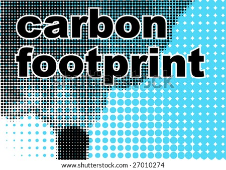 """Nature protection poster with smoking chimney and the words """"carbon footprint"""" over it - stock vector"""