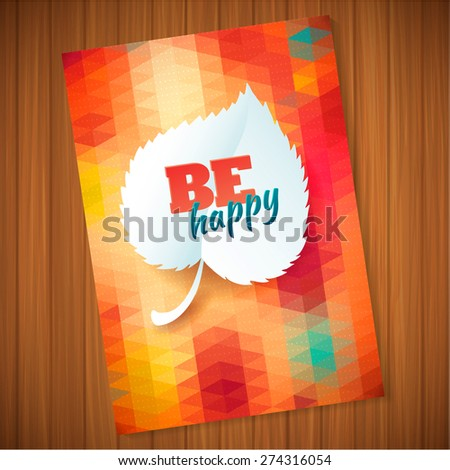 Nature rainbow leaves concept card.   Vector leaf abstract polygon background - stock vector