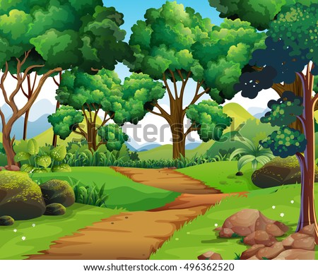 Nature scene with hiking track and trees illustration