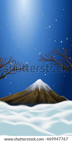 Nature scene with snow on mountain top illustration