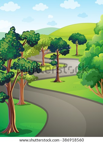 Nature scene with trees in the park illustration - stock vector