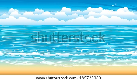 Nature seascape with waves and white clouds on a blue sky. - stock vector