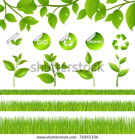 Nature Set, Isolated On White Background, Vector Illustration - stock vector