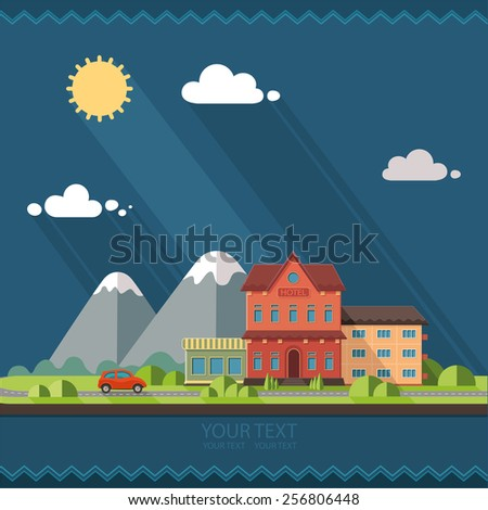Nature - summer resort landscape.  Red car, the road to the mountains, beautiful views. Flat design style vector illustration. - stock vector