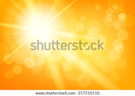 Nature sunny abstract summer background with sun and bokeh - stock vector