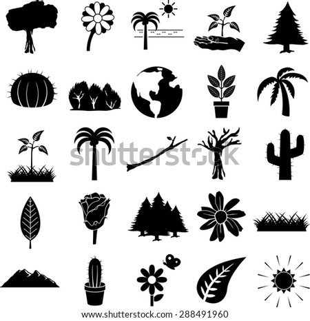 nature symbols set - stock vector