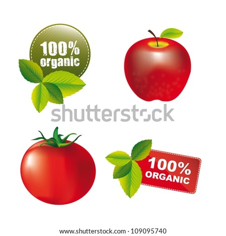 nature tags with apple and tomato isolated. vector illusstration - stock vector