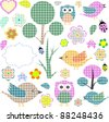 nature textile stickers vector Set - stock vector