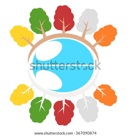 Nature tree symbol in ecology world concept illustration - stock vector