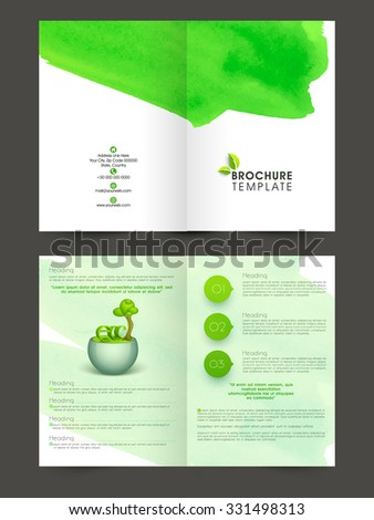 nature two page brochure flyer template stock vector 331498313