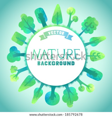 Nature vector background. Vector geometric trees and grass silhouettes. There is place for your text in the center. - stock vector