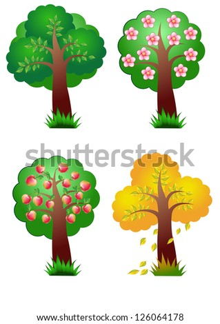 nature vector banner elements four seasons tree