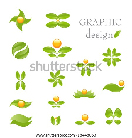 Nature- vector icon set isolated on white. Alternative medicine and ecology targeted - stock vector