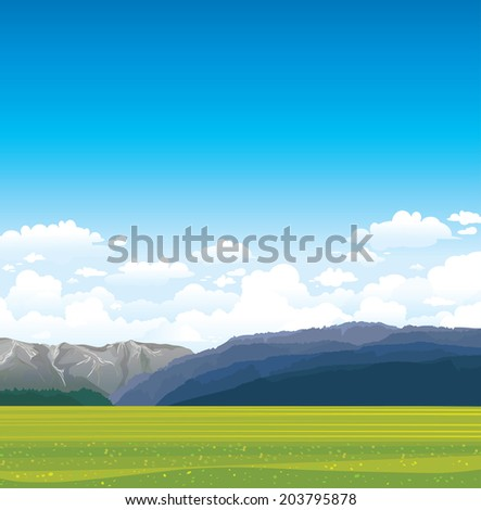 Nature vector landscape with green field, forest and mountains on a blue sky with clouds. - stock vector