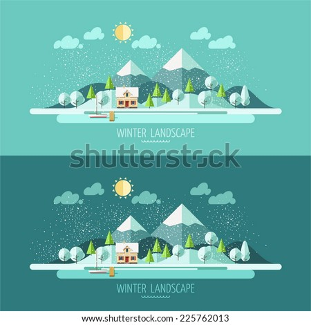 Nature - winter landscape. Vector illustration in flat design style.