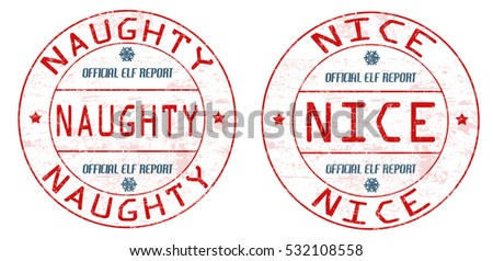 Naughty and nice grunge rubber stamps on white background, vector illustration