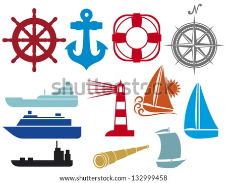 nautical and marine icons (boat and ship icons set, stylized yacht, lifesaver, anchor, sailboat symbol, lighthouse icon, compass, marine travel icons, spyglass) - stock vector