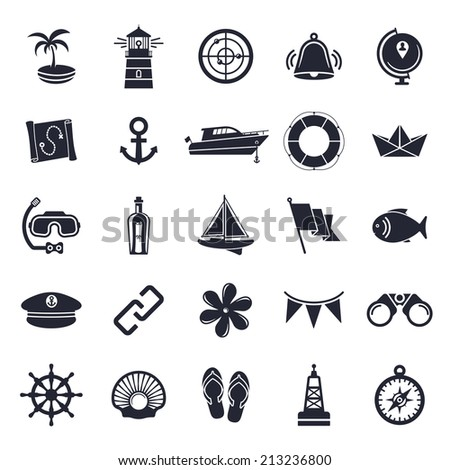 Nautical and marine theme, black and white icons. - stock vector