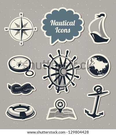 Nautical and sailing icons set