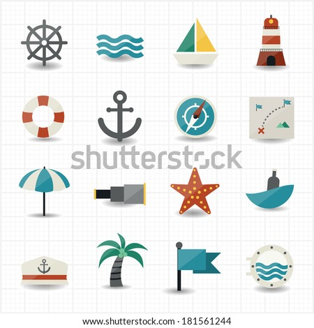Nautical and sea icons - stock vector