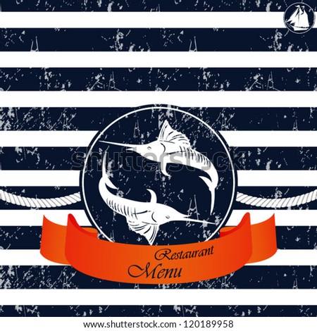 nautical background. grunge - stock vector