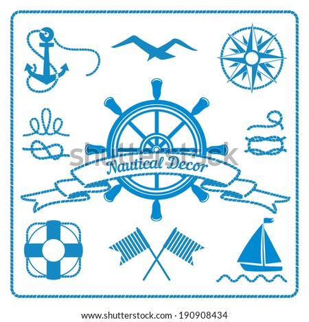nautical badges and decor marine elements with steering wheel, rope and lifeline, vector eps10 illustration