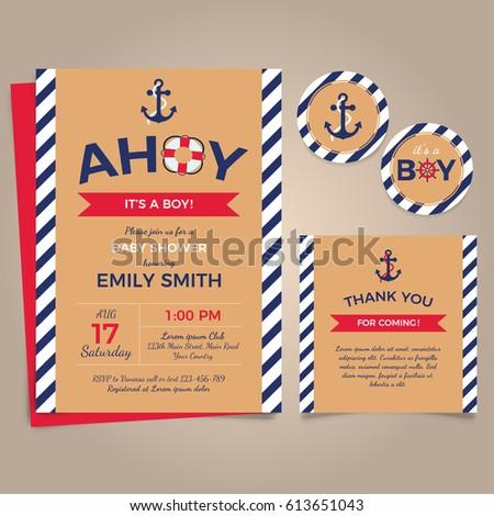 Nautical birthday invitation design template stock vector nautical birthday invitation design template stopboris Gallery