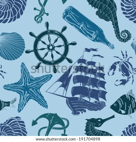 Nautical blue hand drawn seamless pattern  - stock vector