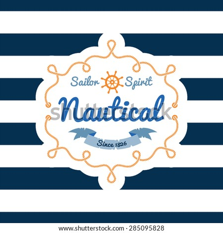 Nautical card.  T-shirt Printing - stock vector