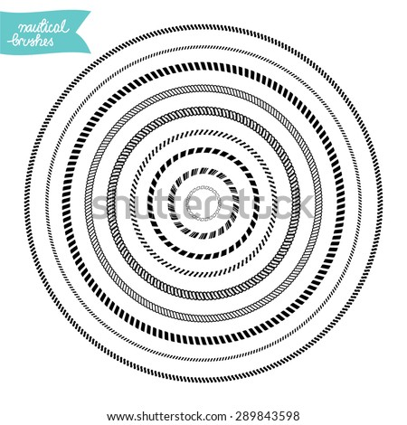 Nautical custom made brushes frames in circle shape - stock vector
