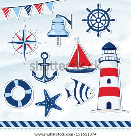 Nautical design elements: anchor, starfish, wheel, boat, fish, rope, bell, lifebuoy, lighthouse, flag, compass  - stock vector