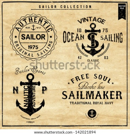 Nautical Design | Sailor vector set |Hand drawing  | T-shirt Printing | Badge Applique Label - stock vector